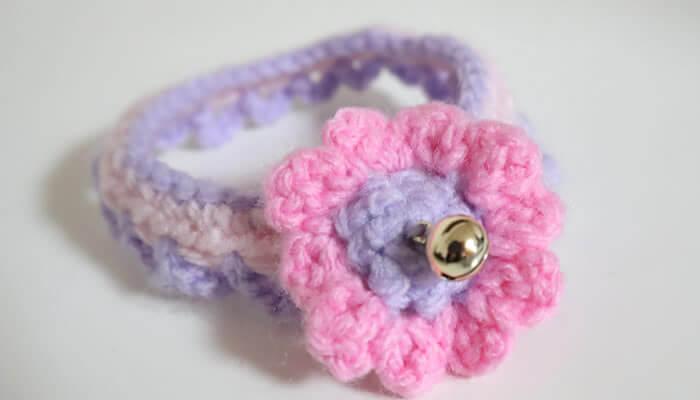 毛糸の猫の首輪 ハンドメイド