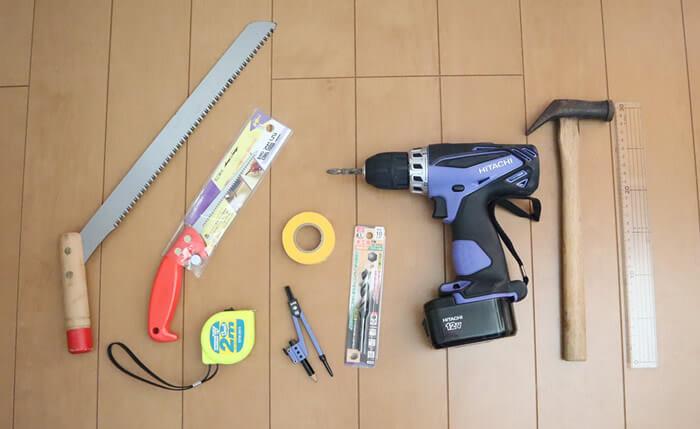 手作りフードボウルスタンドの工具