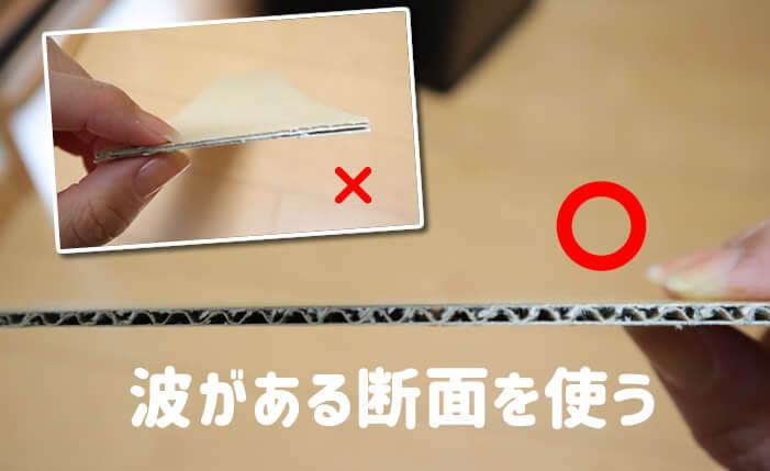 爪とぎのダンボール素材の断面
